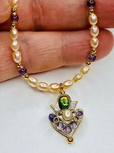 Michal Golan Abalone and Amethyst Pendant  W/ Freshwater Pearl Beaded Necklace