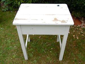 Vintage Original Wooden School Desk Shabby Chic White*