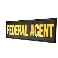 FEDERAL AGENT large XL 10x4 inch embroidered badge SWAT tag hook-and-loop patch