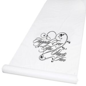 New White with Black Print Happily Ever After Rayon Aisle Runner 100'