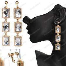 """CLIP ON 3""""long RETRO ornate FACETED MIRRORED GEM EARRINGS vintage gold fashion"""