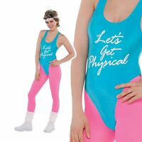 80s Lets Get Physical Costume Ladies Sport Exercise Leotard Fancy Dress Outfit