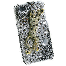 iPhone 4 4S - 3D Diamond Crystal Bling Case Cover Black White Cheetah Leopard