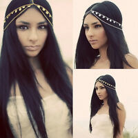 BOHO Retro Women Metal Rhinestone Chain Jewelry Headband Head Piece Hair band