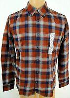 St Johns Bay Bronze Flannel Shirt Slim fit Small Plaid Button down Pocket NWT