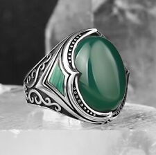 3fd0e2324a Turkish Jewelry 925 Sterling Silver Green Agate Aqeeq Mens Mans Elegant Ring  USA
