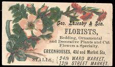 BALTIMORE MD TRADE CARD, GEO LAZENBY & SON,  FLORISTS, 43rd & MARKET ST.  TTC505