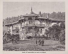 Liwadija, Jalta, Krim. Liwadija-Palast des Zaren Nikolaus II. Holzstich um 1890