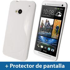 Dual Tone Blanco Funda TPU Gel para HTC One M7 Android Smartphone Carcasa 1
