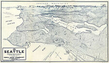 1921 Map Birdseye Aerial View of Seattle Vintage Historical Wall Poster Office