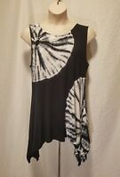 New Belldini Woman Plus Size 2X Black & White Top Tunic Rhinestone Sleeveless