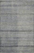 Contemporary Modern Gray Blue Gabbeh Kashkoli Oriental Area Rug Hand-knotted 4x6