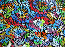 Framed bush petals   COA Authentic Aboriginal Art Print  by jane crawford