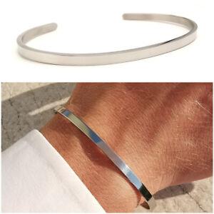 Bracciale uomo acciaio inox rigido in braccialetto da fascia color argento