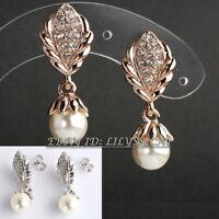B1-E797 Fashion Pearl Solitaire Earrings 18KGP CZ Rhinestone Crystal