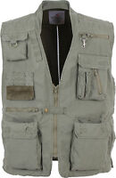 Olive Drab Deluxe Safari Outdoors 18 Pocket Hunting Travel Outback Vest