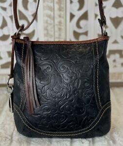 FOSSIL Winslet BLACK Leather Embossed Tooled Medium-Large Hobo Shoulder Handbag