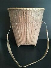 Antique hill tribe bamboo rattan woven basket