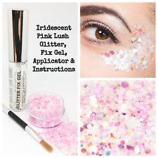 Cosmetic Chunky Pink Glitter Eyes Skin Hair Eyes Makeup festival kit + Fix Gel
