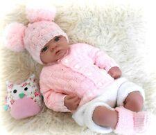 Baby reborn DK knitting pattern to knit designer cardigan hat booties set soph