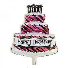 "Happy Birthday 3 Layer Cake Foil Balloon Pink 16"""