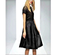 NWT $287  ASOS Premium Midi DRESS With Genuine Leather Skirt and Jersey Top