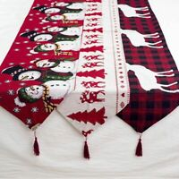 Christmas Table Runner Place Mat Deer Snowman Linen Tablecloth For Xmas Dinner