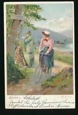 AK Fahrradfahrer, Gruss aus Lokstedt, Dame auf Fahrrad, gelaufen 1900 (56736)