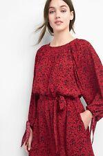 Gap Print tie-sleeve scoopneck dress, Red Print Sz S (84119)