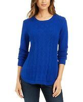 Charter Club Womens Cable Knit Sweater Modern Blue Size Medium