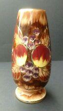 Oldcourt Ware Ceramic Handpainted Vase: Fruit & Leaves/Autumnal: Gold Detailing