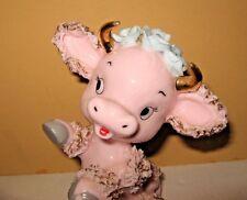 Rare! Vintage pink Milk Glass Spaghetti Trim Gold Horns Cow Figurine