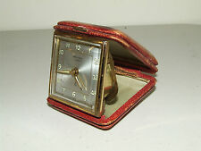 Vintage 1950's RENSIE Portable Wind Travel Alarm Clock Clam Shell Case Germany