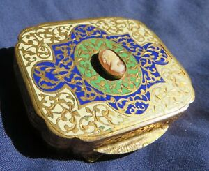 Vintage enamelled carved shell cameo lozenge ladies powder compact
