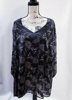 Maggie Barnes Womens 3X Plus Black & White Floral Double Layer Pullover Blouse