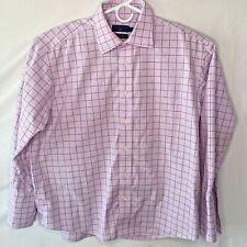 Joseph & Lyman Dress Shirt Mens 17 32 X 33 French Cuff Pink Blue Window Pane
