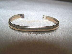 Vintage Signed Tahe Sterling Silver 12K Gold Filled Navajo Bracelet Cuff 12.9GR