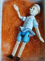 Pinocchio in Porcellana Marionetta dipinto a mano alt. Cm 13,5  Ved Foto nuovo