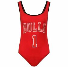 New Ladies Womens Celeb Bulls 1 Print Sleeveless Bodysuit Leotard Top Sizes 8-14