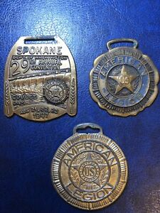 3 American Legion Badges RARE 1919 Watch Fob 90796 and 1947 Convention Badge