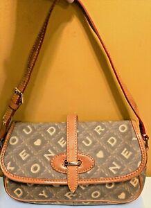 Dooney Bourke  Handbag Vachetta Tan Leather Trim  DB Logo Gray Crossword & Heart