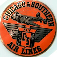 Fly C & S ~CHICAGO & SOUTHERN AIRLINES~ Vibrant Metallic Airline Luggage Label