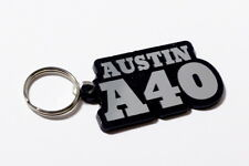 Austin A40 Keyring - Brushed Chrome Effect Classic Car Keytag / Keyfob
