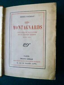 Henri Pourrat:Les Montagnards chronique paysanne grande guerre, relié,  envoi