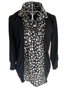 Savoir Women's Jumper Size 12 Black Cotton With Blouse Insert 3/4 Sleeved