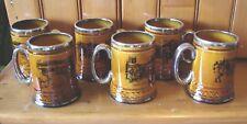 6 Ridgways Platinum Trim Mug Stein 1/2 Tankard Black Brown Coaching Days Ways