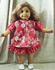 """Doll Clothes Made 2 Fit American Girl 18"""" In Pinafore Dress Set 2pcs Snowflakes"""