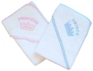 BABIES NEWBORN BABY SOFT PRINCE PRINCESS HOODED ROBE BATH TOWEL WRAP CROWN PLAIN
