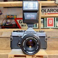 Olympus OM 1 MD 35mm SLR Film Camera & 50mm F1:8 zuiko Lens, Flash! Lomo! Retro
