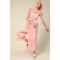 NWT Line & Dot Corona Jumpsuit Fully Lined Pink Lace Women's Size S NEW